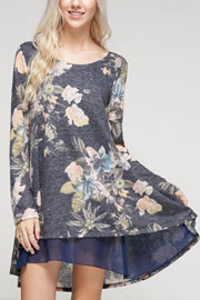 Floral Long Sleeve Knit Chiffon Trim Hem Tunic Top-Navy Blue
