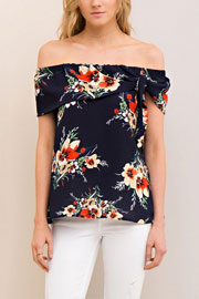 Floral Print Flowy Off the Shoulder Self Tie Top-Navy Blue