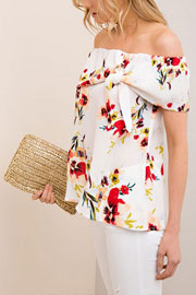 Floral Print Flowy Off the Shoulder Self Tie Top-Off White