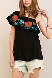 One Shoulder Rose Embroidered Ruffle Top-Black