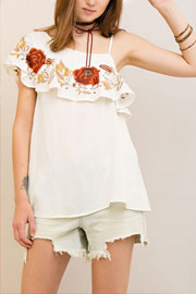 One Shoulder Rose Embroidered Ruffle Top-Off White