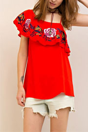 One Shoulder Rose Embroidered Ruffle Top-Red