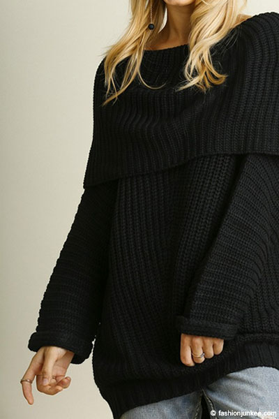 Chunky Thick Foldover Off the Shoulder Knit Sweater Top-Black