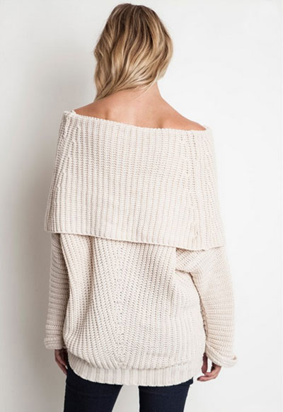 Chunky Thick Foldover Off the Shoulder Knit Sweater Top-Grey Blue