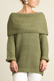 Chunky Thick Foldover Off the Shoulder Knit Sweater Top-Olive Green