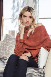 Chunky Thick Foldover Off the Shoulder Knit Sweater Top-Rust