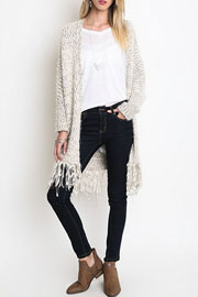 Chunky Thick Knit Fringe Sweater Cardigan-Beige