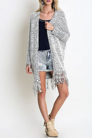Chunky Thick Knit Fringe Sweater Cardigan-Grey