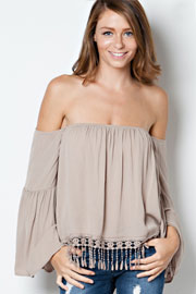 Boho Fringe Elastic Off the Shoulder Peasant Top, Long Bell Sleeves-Taupe