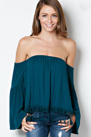 Boho Fringe Elastic Off the Shoulder Peasant Top, Long Bell Sleeves-Teal