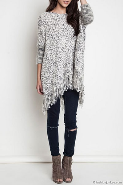 Chunky Thick Knit Sweater with Fringe Hem-Grey - photo#42