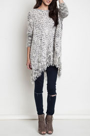 Chunky Thick Knit Sweater with Fringe Hem-Grey