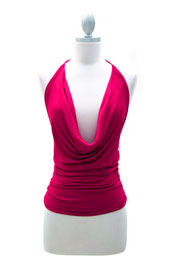Sexy Draped Jersey Halter Tie Top-Fuschia
