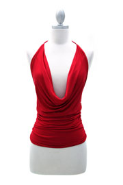 Sexy Draped Jersey Halter Tie Top-Red