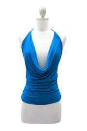 Sexy Draped Jersey Halter Tie Top-Turquoise Blue