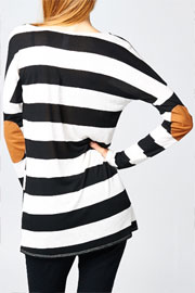 Slub Loose Long Sleeve Striped Top with Elbow Patch-Black & White