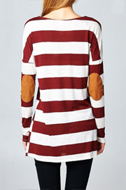 Slub Loose Long Sleeve Striped Top with Elbow Patch-Burgundy & White