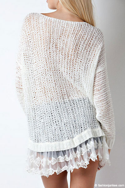 Ruffle Lace Bottom Knit Long Sleeve Sweater Top-Off White Ivory