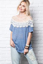 Lace Neck Off the Shoulder Short Sleeve Top-Heather Blue