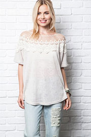 Lace Neck Off the Shoulder Short Sleeve Top-Off White