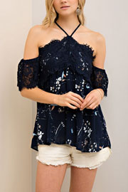 Adorable Lace and Floral Print Open Shoulder Top-Navy Blue