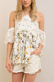 Adorable Lace and Floral Print Open Shoulder Top-Off White
