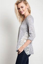 Lace Side Detail 3/4 Sleeve Top-Heather Grey