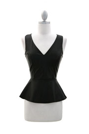 V-Neck Faux Leather Peplum Tank Top-Black