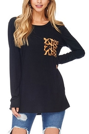 Long Sleeve Jersey Top with Leopard Print Pocket-Black