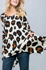 Bold Leopard Print Long Sleeve Unbalanced Tunic with Pockets-Leopard Print