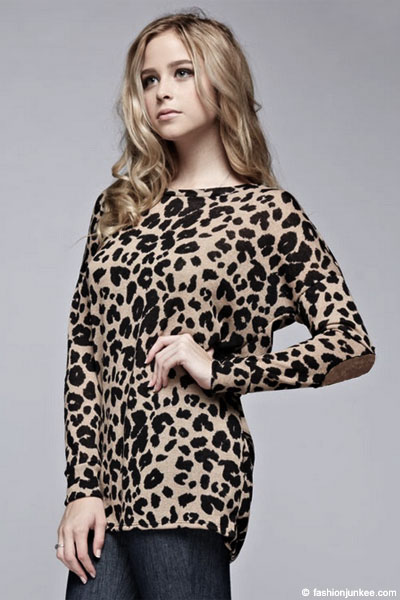 Leopard Animal Print Long Sleeve Tunic Top with Elbow ...
