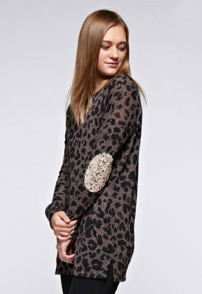 Sequin Elbow Patch Leopard Animal Print Long Sleeve Tunic ...