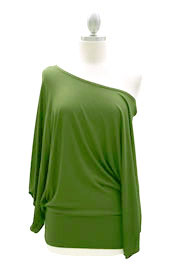 Jersey Long Kimono Sleeves Banded Off the Shoulder, Boat Neck Tunic Top-Light Olive