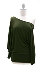 Jersey Long Kimono Sleeves Banded Off the Shoulder, Boat Neck Tunic Top-Olive Green
