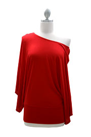 Jersey Long Kimono Sleeves Banded Off the Shoulder, Boat Neck Tunic Top-Red