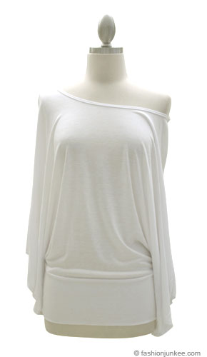 Jersey Long Kimono Sleeves Banded Off the Shoulder, Boat Neck Tunic Top-White