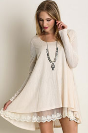 Long Sleeve Knit Lace Trim Hem Tunic Top-Off White