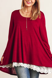 PLUS SIZE Long Sleeve Knit Lace Trim Hem Tunic Top-Burgundy Red