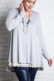 PLUS SIZE Long Sleeve Knit Lace Trim Hem Tunic Top-Grey