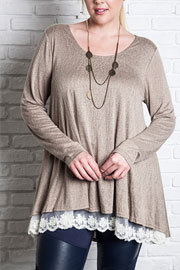 PLUS SIZE Long Sleeve Knit Lace Trim Hem Tunic Top-Mocha