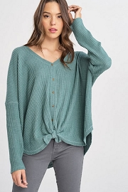 Long Sleeve Thermal Button Up Top with Knot-Pistachio Green