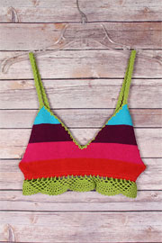 Striped Multi-Colored Boho Cropped Knit Crochet Tank Top Bralette-Olive