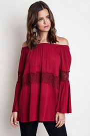 Boho Lace Detail Bell Sleeve Elastic Off the Shoulder Peasant Top-Red