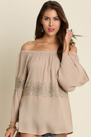 Boho Lace Detail Bell Sleeve Elastic Off the Shoulder Peasant Top-Taupe