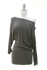 :As Seen On Extra! Las Vegas: Long Sleeve Jersey Off the Shoulder Top, Draped Arm-Grey