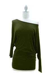 :As Seen On Extra! Las Vegas: Long Sleeve Jersey Off the Shoulder Top, Draped Arm-Olive Green