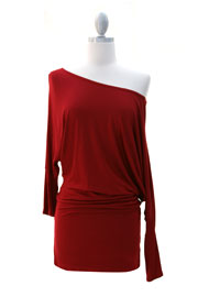 :As Seen On Extra! Las Vegas: Long Sleeve Jersey Off the Shoulder Top, Draped Arm-Red