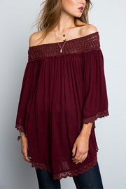 Flowy Off the Shoulder Lace Tunic Top-Burgundy