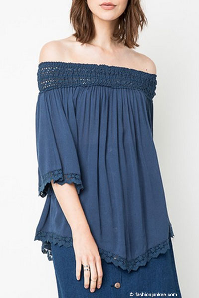 Flash sale flowy off the shoulder lace tunic top navy blue