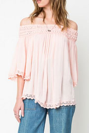Flowy Off the Shoulder Lace Tunic Top-Pink